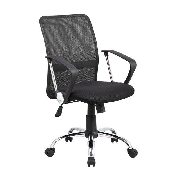 black mesh task chair with adjustable seat height and lumbar support