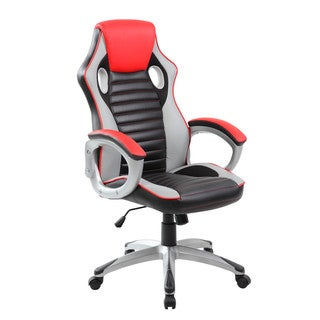 Finish Line Red High back PU Executive Racing Style Swivel Gaming Chair