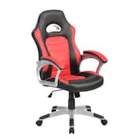 Finish Line White PU High-back Racing-style Gaming Chair