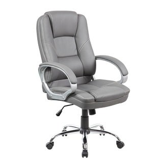 Executive Mid-back Grey Faux Leather Office Chair