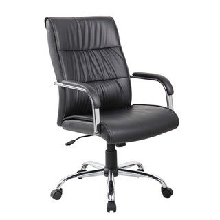 Black Polyurethane, PVC, and Chrome Mid-back Thick Padded Office Task Chair