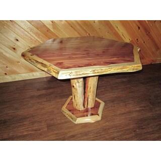 Red Cedar Log Hexagon Dining Table