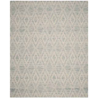 Safavieh Marbella Handmade Vintage Diamond Light Blue/ Ivory Wool Rug (8' x 10')