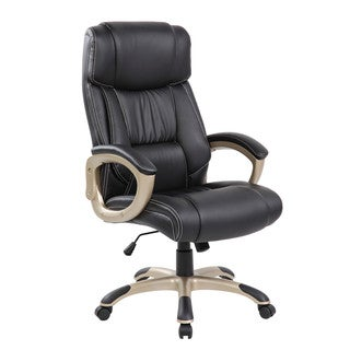 DeluxeThick Padded High Back Black Champagne Faux Leather Executive Office Chair