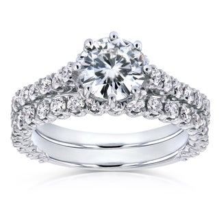 Annello by Kobelli 14k White Gold 2 1/10ct TCW Round Moissanite and Diamond 8-Prong Standing Halo Bridal Rings (GH, I1-I2)