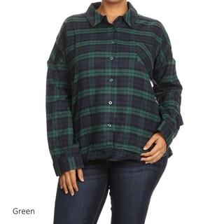 Women's Plaid Cotton Plus-size Button-up Shirt