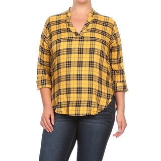Women's Yellow Cotton Plus Size Plaid Button-down Top