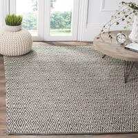 Safavieh Montauk Handmade Geometric Flatweave Ivory/ Dark Grey Cotton Rug (9' x 12')
