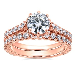 Annello by Kobelli 14k Rose Gold 2 1/10ct TCW Round Moissanite and Diamond 8-Prong Standing Halo Bridal Rings (GH, I1-I2)