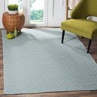 Safavieh Montauk Handmade Geometric Flatweave Ivory/ Light Blue Cotton Rug (9' x 12')