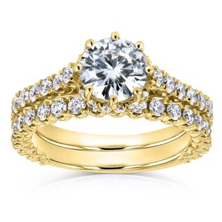 Annello by Kobelli 14k Yellow Gold 2 1/10ct TCW Round Moissanite and Diamond 8-Prong Standing Halo Bridal Rings (GH, I1-I2)