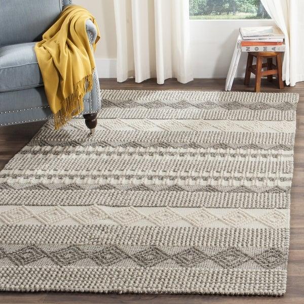 Safavieh Natura Handmade Bohemian Grey Ivory Wool Rug 9 X27
