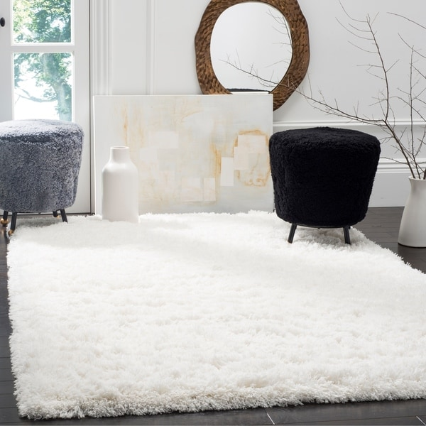 Safavieh Polar Shag White Fluffy Silken Rug - 8' x 10'