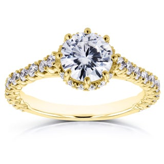 Annello by Kobelli 14k Yellow Gold 1 3/5ct TCW Round Moissanite and Diamond 8-Prong Standing Halo Engagement Ring (GH, I1-I2)