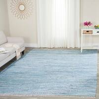 Safavieh Hand-Woven Rag Cotton Rug Light Blue/ Multicolored Cotton Rug - 9' x 12'