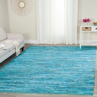 Safavieh Hand-Woven Rag Cotton Rug Turquoise/ Multicolored Cotton Rug (9' x 12')