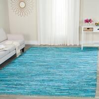 Safavieh Hand-Woven Rag Cotton Rug Turquoise/ Multicolored Cotton Rug - 9' x 12'