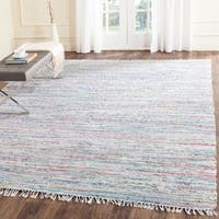 Safavieh Hand-Woven Rag Cotton Rug Light Green/ Multicolored Cotton Rug - 9' x 12'