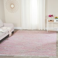 Safavieh Hand-Woven Rag Cotton Rug Light Pink/ Multicolored Cotton Rug - 9' x 12'