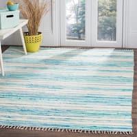 Safavieh Hand-Woven Rag Cotton Rug Ivory/ Green Cotton Rug (8' x 10')