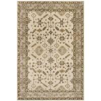 Safavieh Royalty Traditional Handmade Cream/ Light Grey Wool Rug (8' x 10')