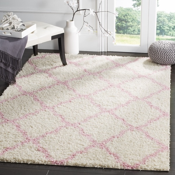 Safavieh Dallas Shag Ivory Light Pink Trellis Rug 8 X
