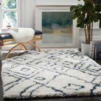Safavieh Handmade Toronto Shag Moroccan Ivory/ Blue Polyester Rug - 8' x 10'