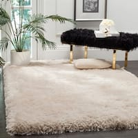 Safavieh Handmade Luxe Shag Super Plush Bone Polyester Rug - 8' x 10'
