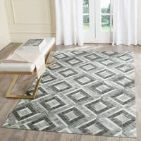 Safavieh Studio Leather Modern Handmade Ivory/ Dark Grey Leather Rug - 8' x 10'