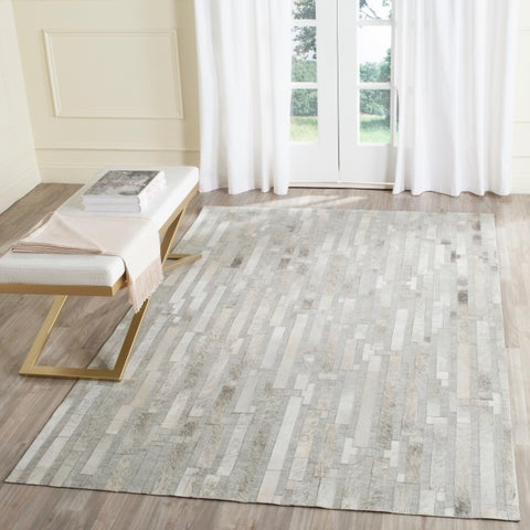 Safavieh Studio Leather Modern Handmade Ivory/ Grey Leather Rug - 8' x 10'