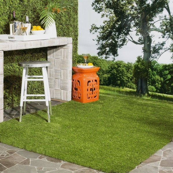 Patio Grass Rug: Safavieh Vista Shag Verdant Green Faux Grass Indoor