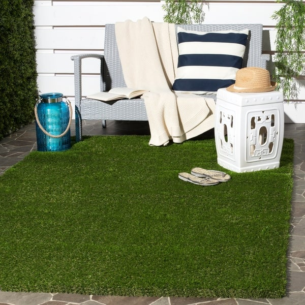 Patio Grass Rug: Shop Safavieh Vista Shag Verdant Green Faux Grass Indoor