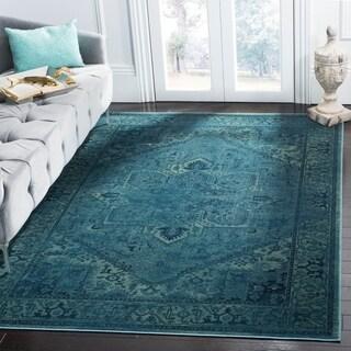 "Safavieh Vintage Oriental Turquoise Distressed Silky Viscose Rug - 8' x 11'2"""