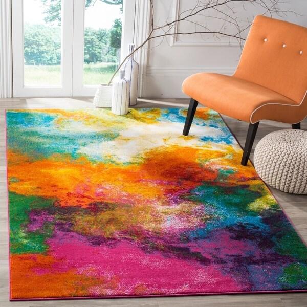 Safavieh Watercolor Contemporary Orange/ Green Rug - 8' x 10'