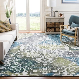 Safavieh Watercolor Bohemian Medallion Ivory/ Peacock Blue Rug (8' x 10')