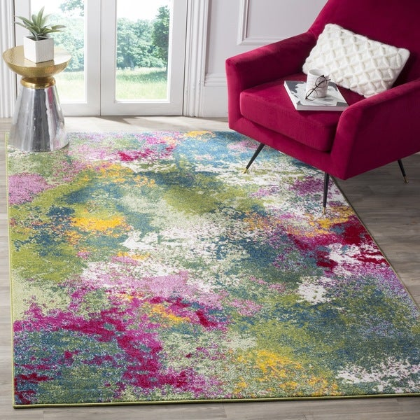 Safavieh Watercolor Contemporary Green Fuchsia Rug 8 X