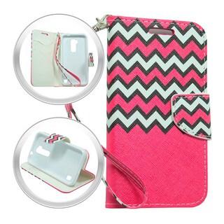LG K7 Tribute 5 Hot Pink Chevron Wallet Pouch