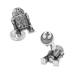 Men's Cufflinks Inc 3D R2D2 Cufflinks Silver
