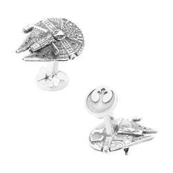 Men's Cufflinks Inc 3D Silver Millennium Falcon Cufflinks Silver