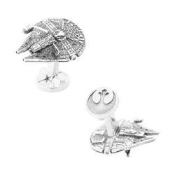 Men's Cufflinks Inc 3D Silver Millennium Falcon Cufflinks Silver
