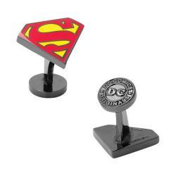 Men's Cufflinks Inc Black Superman Enamel Cufflinks Multi