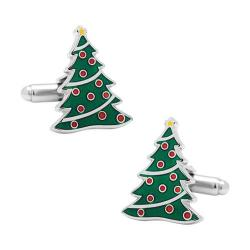 Men's Cufflinks Inc Christmas Tree Cufflinks Green