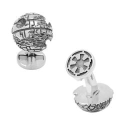 Men's Cufflinks Inc Sterling Silver 3D Death Star Cufflinks Silver