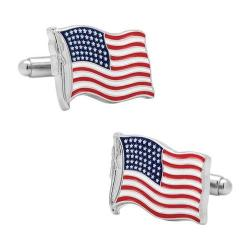 Men's Cufflinks Inc Waving American Flag Cufflinks Multi