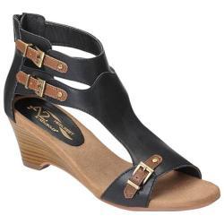 Women's A2 by Aerosoles Mayflower Wedge Sandal Black Combo Faux Leather