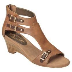 Women's A2 by Aerosoles Mayflower Wedge Sandal Tan Combo Faux Leather