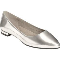 Women's Aerosoles Hey Girl Flat Silver Metallic Faux Leather
