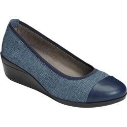 Women's Aerosoles True Blue Wedge Denim Combo Fabric/Faux Leather