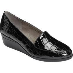 Women's Aerosoles True Match Wedge Black Croco Faux Patent