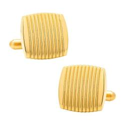 Men's Ox & Bull Trading Co. Stainless Steel Gold Ribbed Square Cufflinks Gold